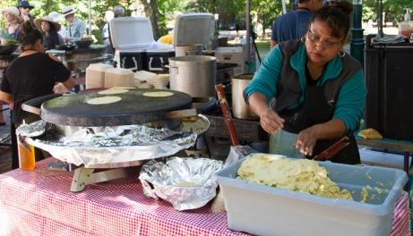 Tortillas on a comal